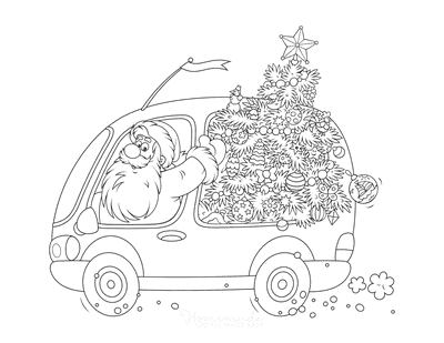 Christmas Tree Coloring Page Santa Tree Van
