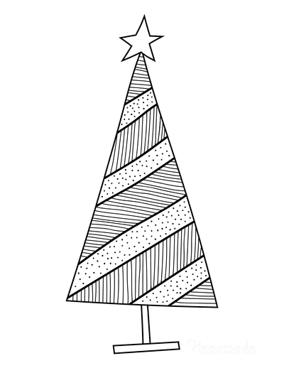 Christmas Tree Coloring Page Simple Abstract Striped Tree