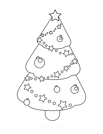 Christmas Tree Coloring Page Simple Decorated Stars Baubles