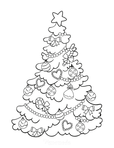 Christmas Tree Coloring Page Simple Decorated Tree to Color