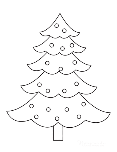 Christmas Tree Coloring Page Simple Outline With Baubles