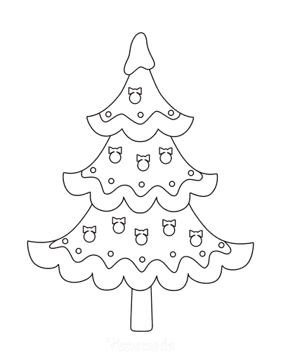 Christmas Tree Coloring Page Simple Tree With Baubles Snow