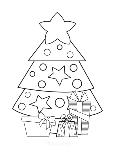 Christmas Tree Coloring Page Simple Tree With Gifts to Color