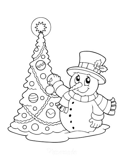 Christmas Tree Coloring Page Snowman Decorating Tree