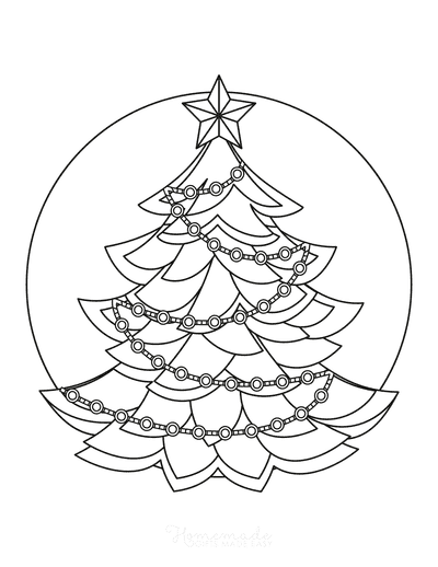 Christmas Tree Coloring Page Star Topped Tinsel