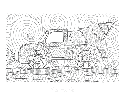 Christmas Tree Coloring Page Tree in Truck Detailed Drawing for Adults
