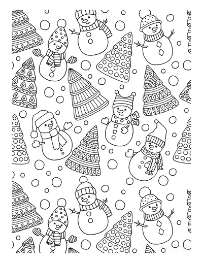 Christmas Tree Coloring Page Trees Snowmen Background