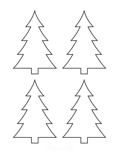 Christmas Tree Template Basic Blank Outline Curved Branches Small