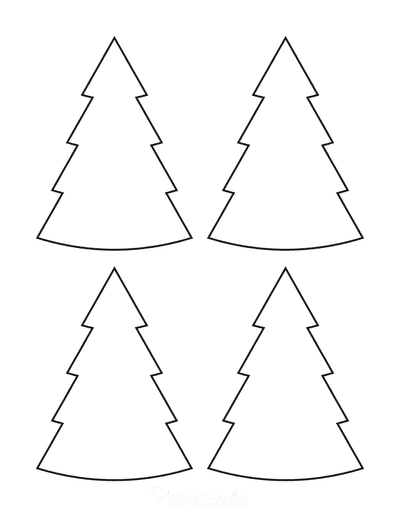 Christmas Tree Template Basic Blank Outline Curved Small