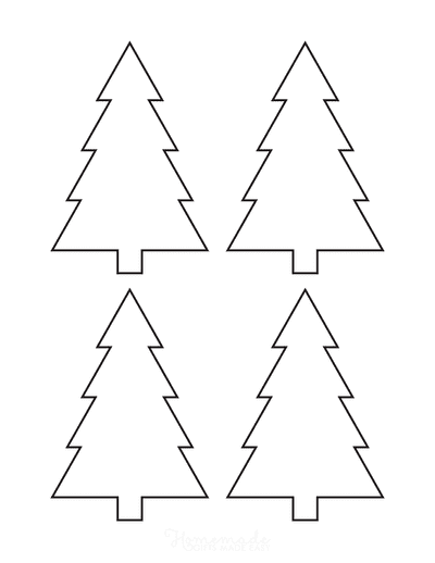 Christmas Tree Template Basic Blank Outline Pointed Corners Small