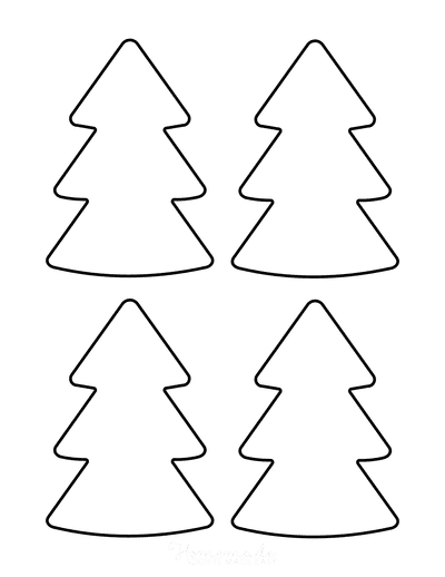 Christmas Tree Template Basic Rounded Corners Outline Small