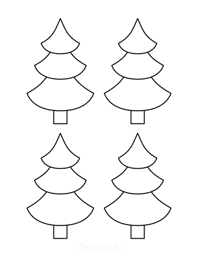 Christmas Tree Template Blank Outline Curved Tiers Small