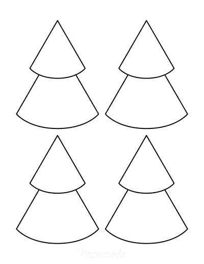 Christmas Tree Template Blank Outline Layered Conical Small
