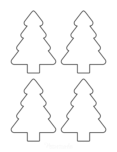 Christmas Tree Template Blank Outline Rounded Small