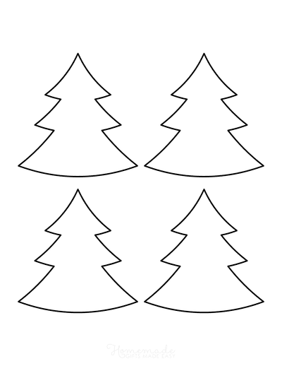 Christmas Tree Template Blank Outline Wide Small
