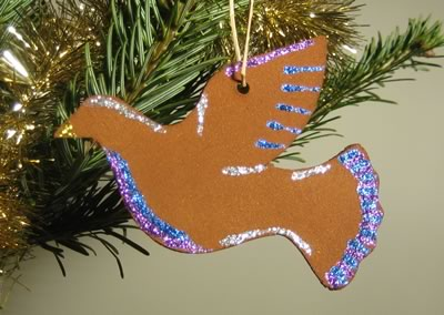 Cinnamon Dough Ornaments Glitter Dove