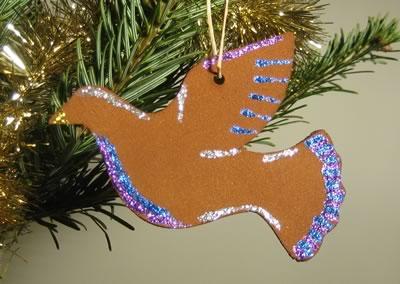 Cinnamon Dough Ornaments Glitter Dove