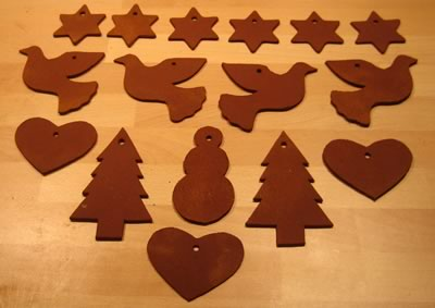 cinnamon dough ornaments many