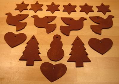 cinnamon dough ornaments many