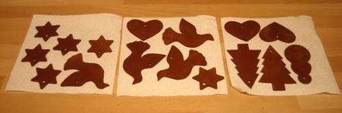 cinnamon dough ornaments drying