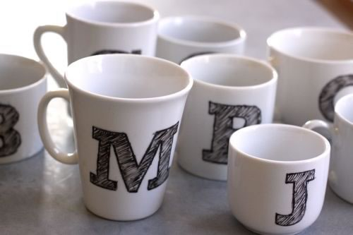 creative valentine ideas monogram mugs