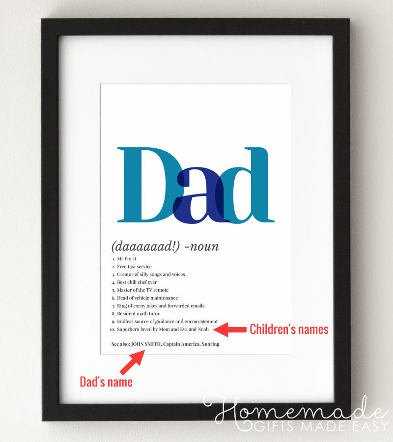 Dad definition poster fathers day gift