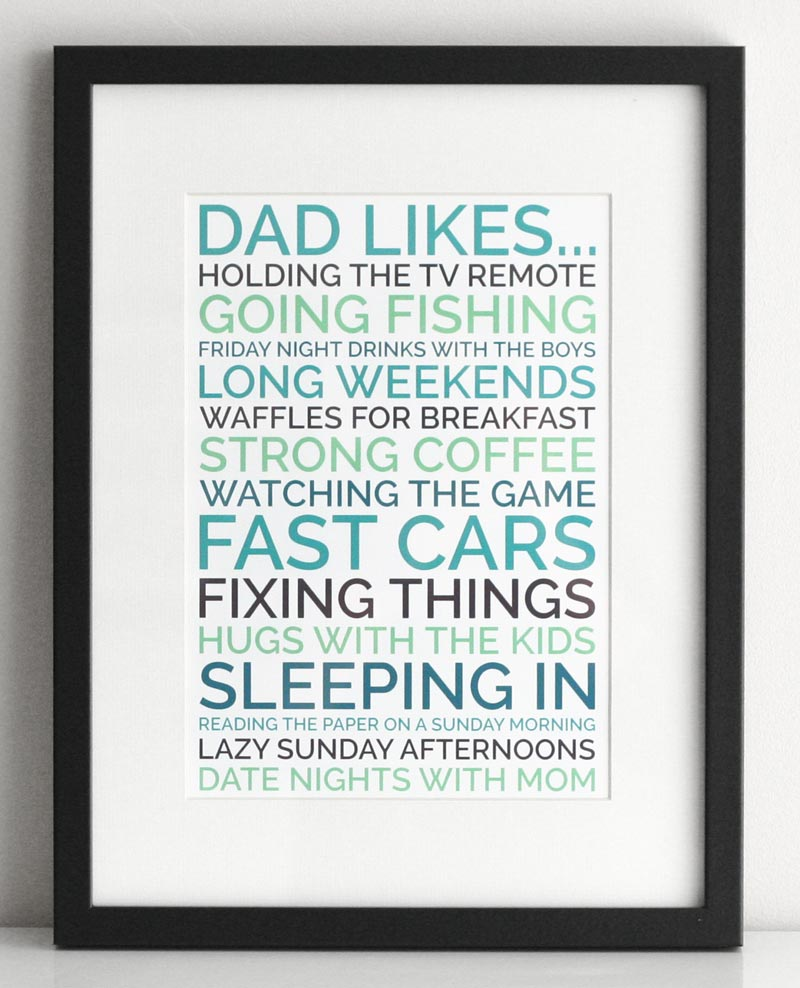 Personalized Dad Gift Generate A Poster Of Things Your Likes