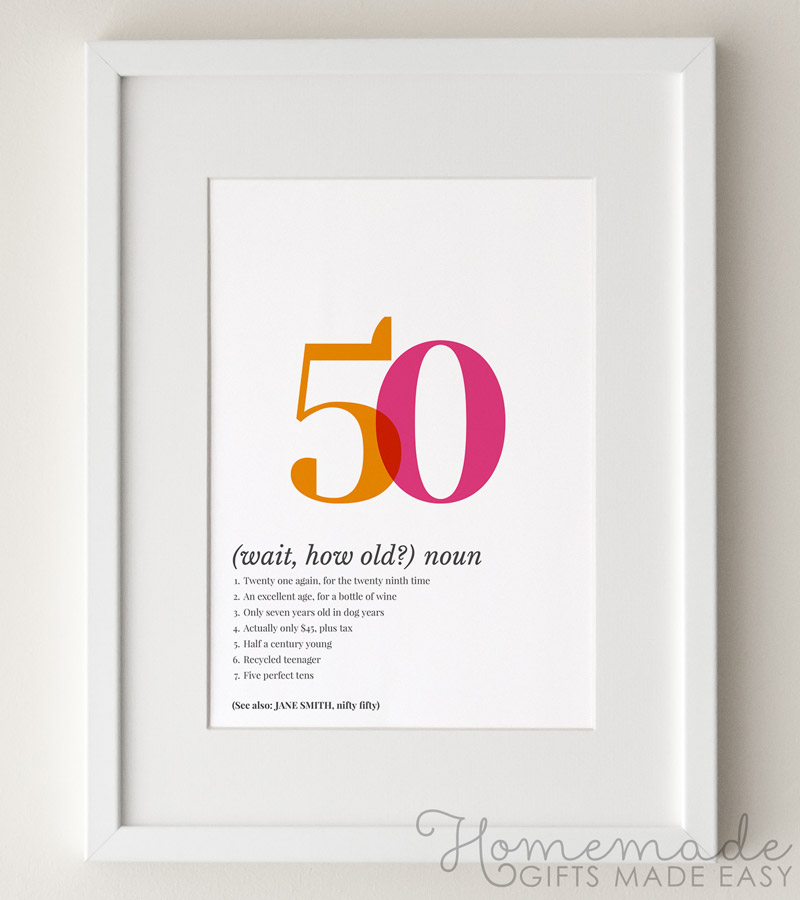 50 definition poster birthday gift pink orange