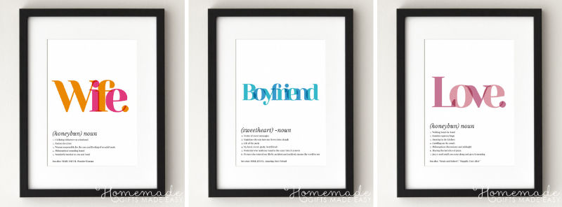 printable definition poster creative anniversary gift