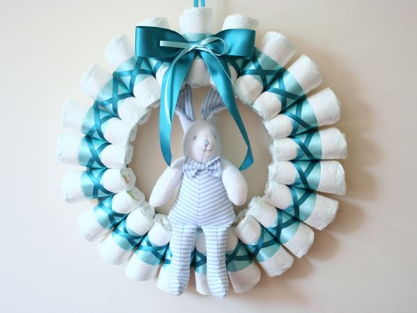 Rolled Diaper Wreath Instructions - Decorated with Bunny