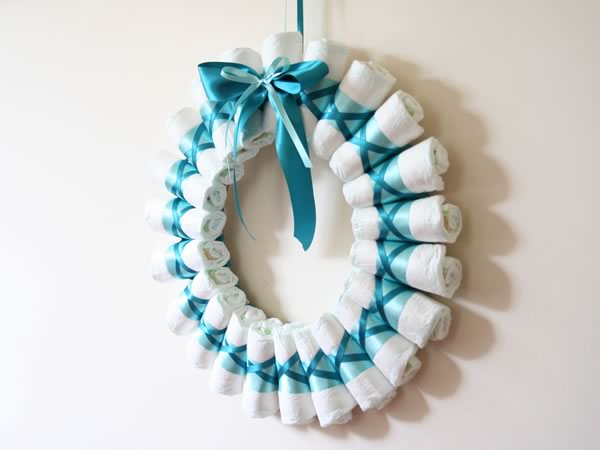 rolled diaper wreath finished side view