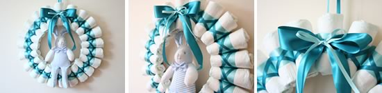 rolled diaper wreath instructions header image