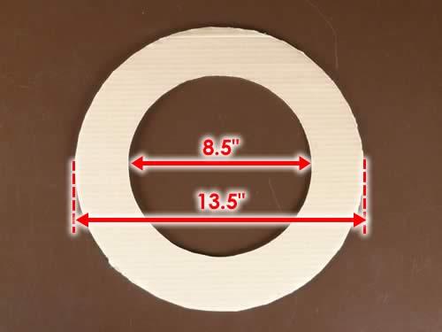 rolled diaper wreath step 1 cardboard circle