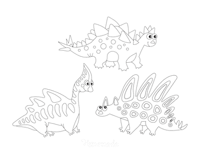 Dinosaur Coloring Pages 3 Cute Dinosaurs