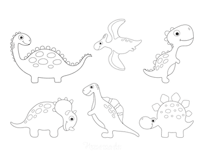 Dinosaur Coloring Pages 6 Cute Dinos for Preschoolers 2