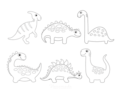 Dinosaur Coloring Pages 6 Cute Dinos for Preschoolers 3