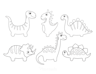 Dinosaur Coloring Pages 6 Cute Dinos for Preschoolers