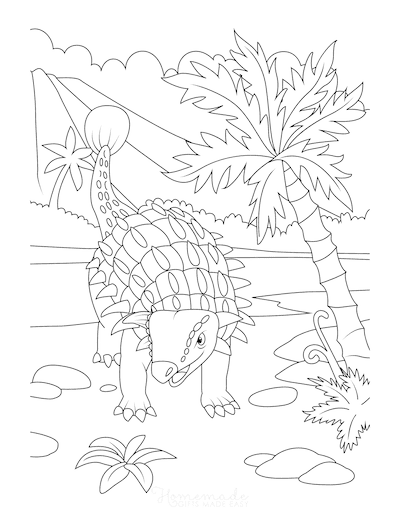Dinosaur Coloring Pages Ankylosaurs Near Volcano and Trees