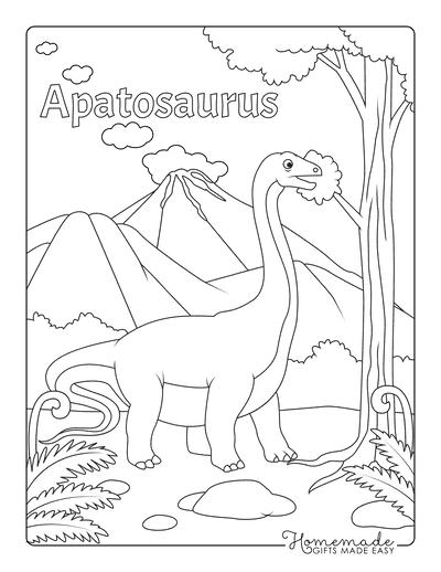Dinosaur Coloring Pages Apatosaurus Near Vvolcano and Trees