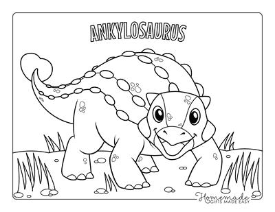 Dinosaur Coloring Pages Cartoon Ankylosaurus