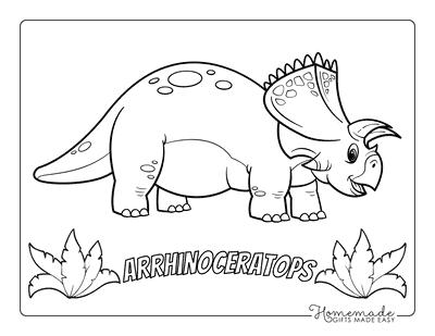 Dinosaur Coloring Pages Cartoon Arrhinoceratops