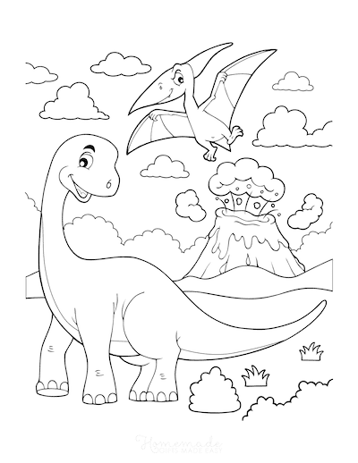 Dinosaur Coloring Pages Cartoon Brachiosaurus With Flying Dinosaur Volcano