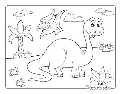 Dinosaur Coloring Pages Cartoon Brontosaurus and Flying Dinosaur