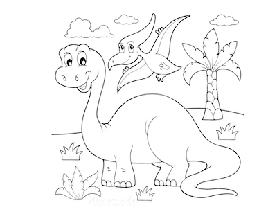 Dinosaur Coloring Pages Cartoon Brontosaurus and Flying Dinosaur
