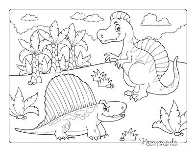 Dinosaur Coloring Pages Cartoon Dimetrodon Spinosaurus