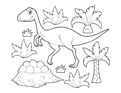 Dinosaur Coloring Pages Cartoon Nest of Eggs