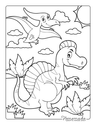 Dinosaur Coloring Pages Cartoon Dinosaur Scene