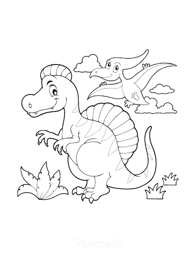 Dinosaur Coloring Pages Cartoon Dinosaur Scene