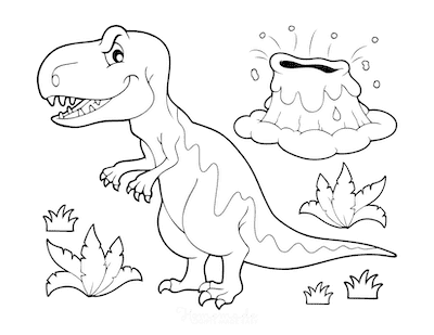 Dinosaur Coloring Pages Cartoon Fierce Dinosaur Volcano