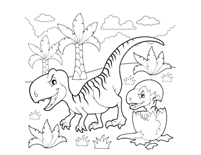 Dinosaur Coloring Pages Cartoon Fierce Dinosaur With Hatching Egg